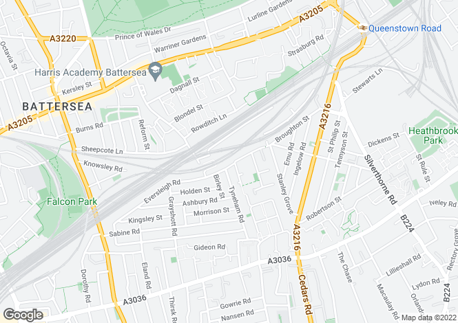 Map for Eversleigh Road, Battersea