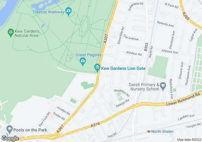 Map for Kew Road, Richmond, TW9