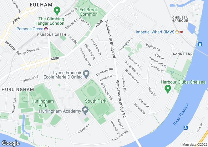 Map for Clancarty Road Fulham SW6