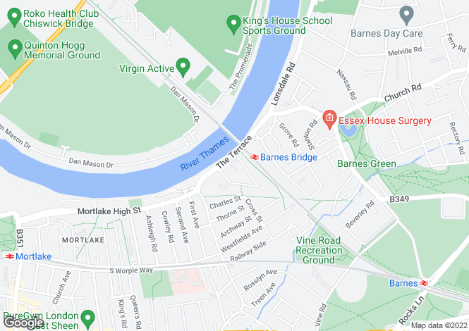 Map for Elm Bank Mansions, Barnes , SW13