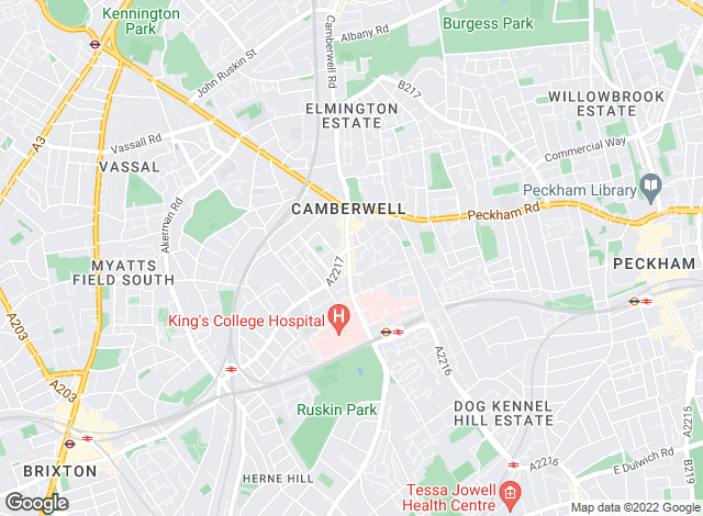 Map for Hunters, Camberwell