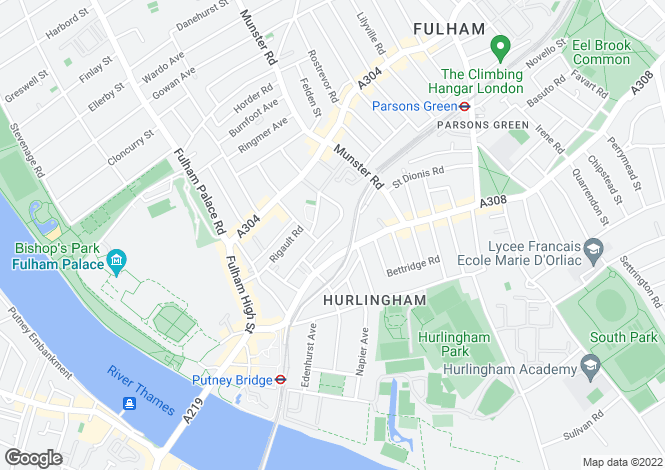 Map for Fulham Park Gardens, Fulham, London