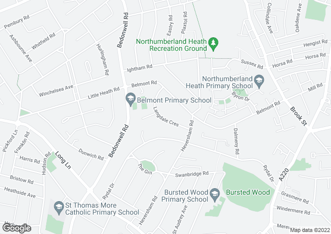 Map for Langdale Crescent, Bexleyheath