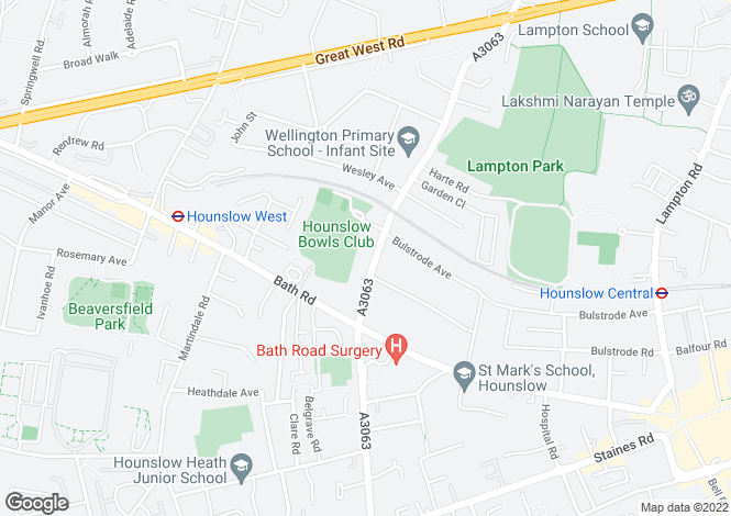 Map for Sutton Lane, HOUNSLOW, TW3