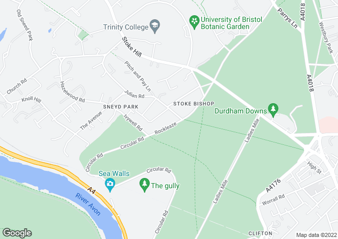 Map for Rockleaze, Sneyd Park, Bristol