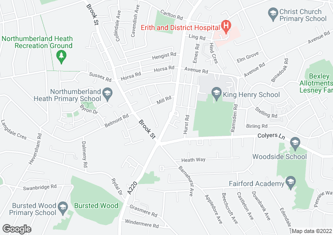 Map for Bexley Road, Northumberland Heath, Erith, Kent