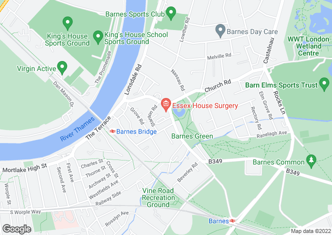 Map for Old Essex House, Barnes, London, SW13 0LW