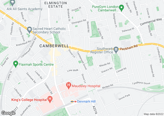 Map for Camberwell Grove, Camberwell, SE5