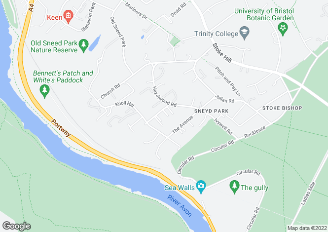 Map for Goodeve Road, Sneyd Park, Bristol, BS9