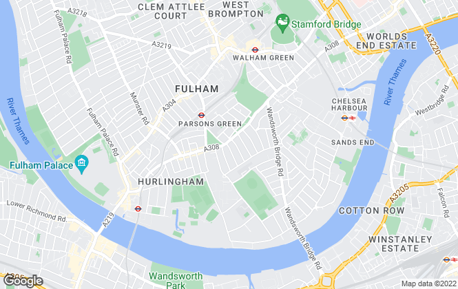 Map for Knight Frank, Fulham
