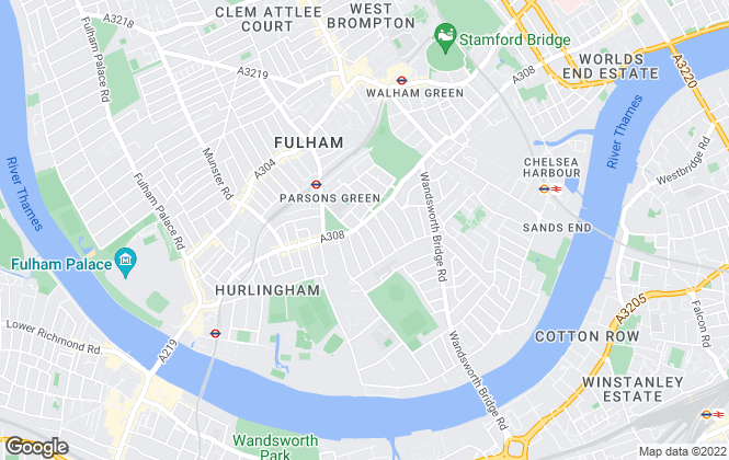 Map for Hamptons International Sales, Parsons Green & Fulham