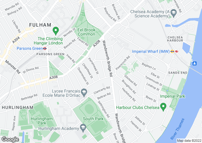 Map for Bowerdean Street, Fulham, London, SW6 3TW