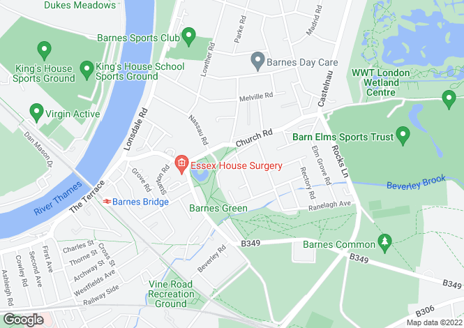 Map for The Crescent, Barnes, London, SW13 0NN