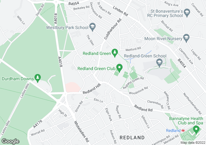 Map for Manor Park, Redland, Bristol
