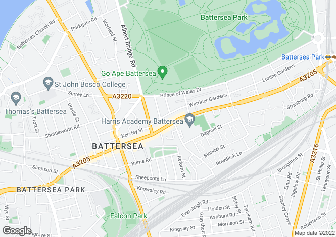 Map for Brynmaer Road, Battersea Park, SW11