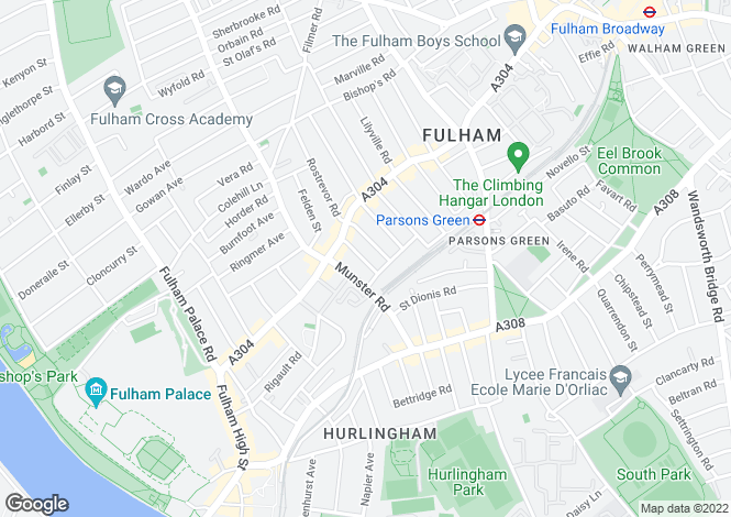 Map for Dancer Road Parsons Green SW6
