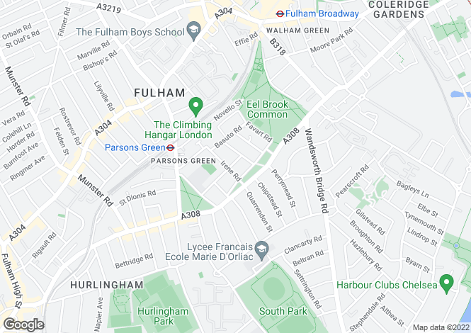 Map for Delvino Road Fulham SW6