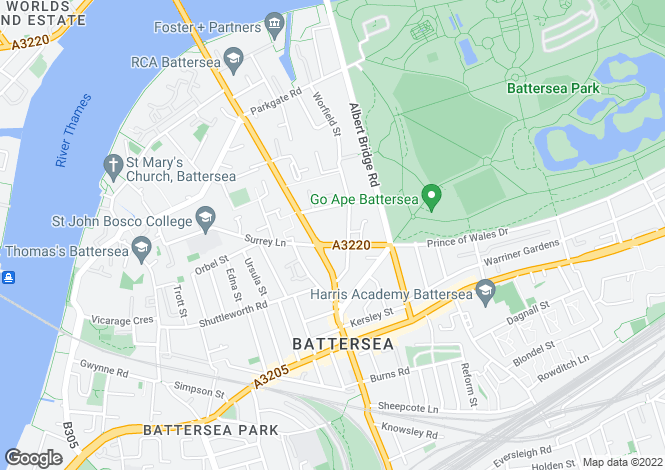 Map for Prince Of Wales Drive, Battersea, London, SW11 4SB