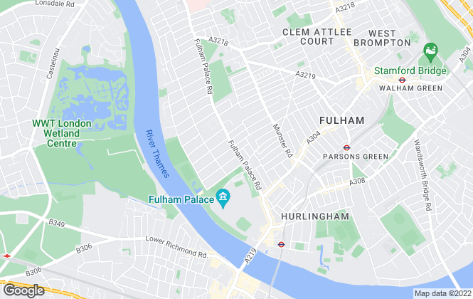 Map for Lawson Rutter, Fulham