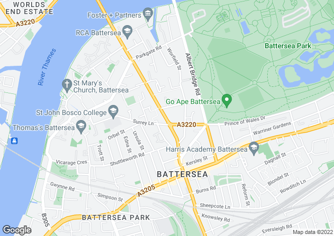 Map for Battersea Bridge Road, Battersea