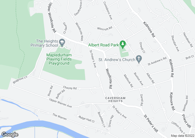 Map for St Peters Avenue, Caversham