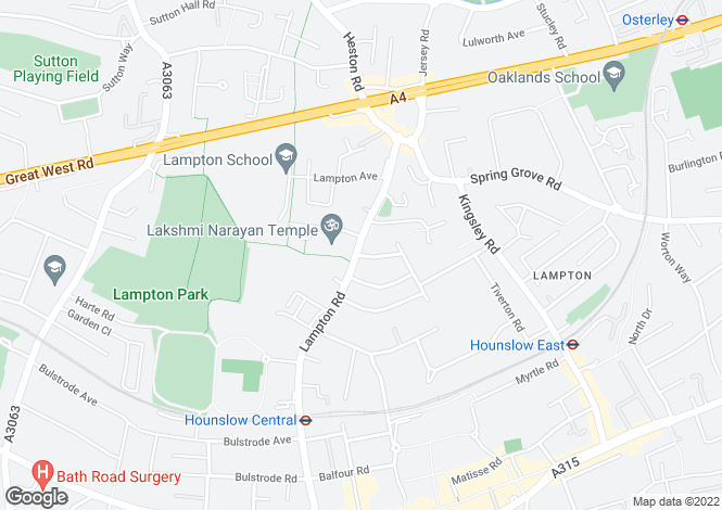 Map for Lampton Road, HOUNSLOW, Middlesex