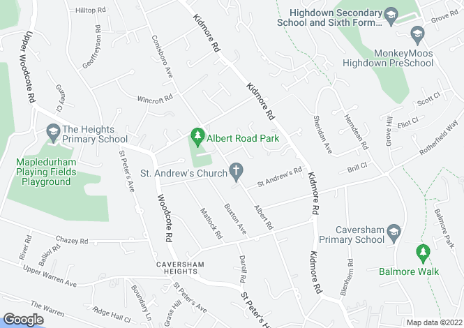 Map for Albert Road, READING, RG4