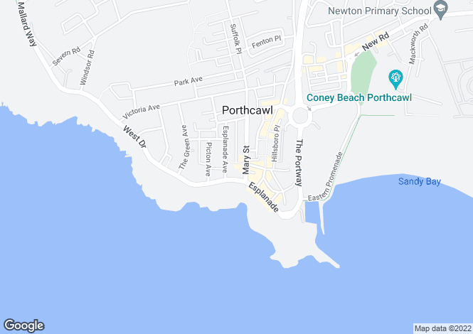 Map for Pavilion Court, Porthcawl, Bridgend