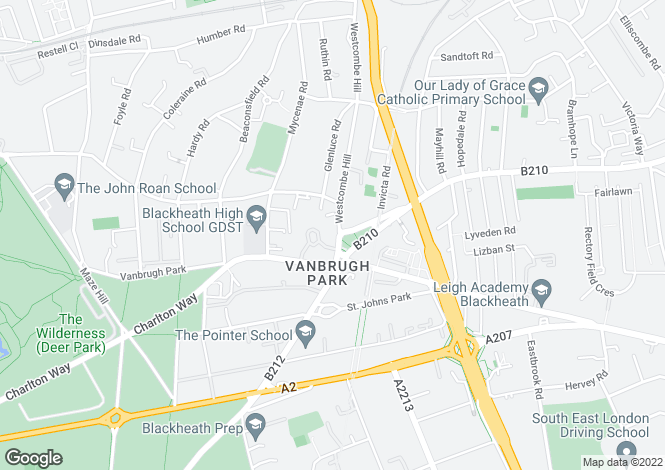 Map for Westcombe Hill, Blackheath, SE3