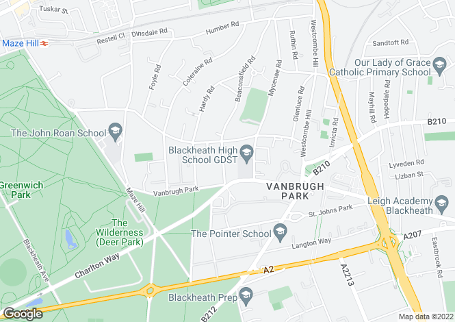 Map for Beaconsfield Road, Blackheath