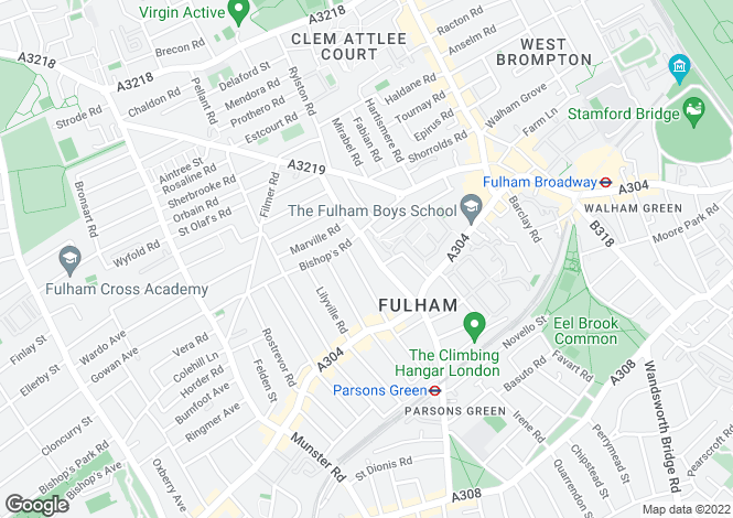 Map for Kelvedon Road, Fulham, LONDON