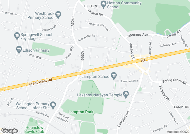 Map for Great West Road, Hounslow,Middlesex, TW5 0PB