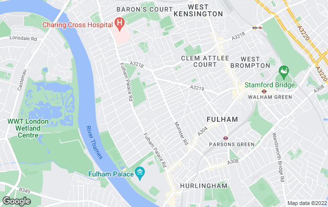 Map for Chestertons Estate Agents , Fulham - Munster Road