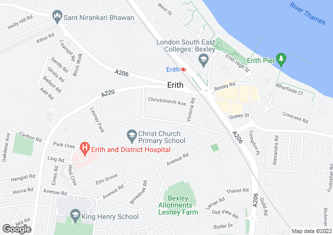 Map for Park Crescent, Lesney Park, Erith, Kent, DA8