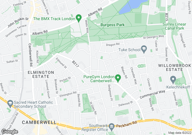 Map for Rainbow Street, Camberwell, SE5