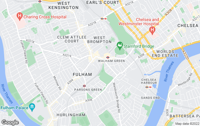 Map for Kinleigh Folkard & Hayward - Sales, Fulham and Chelsea