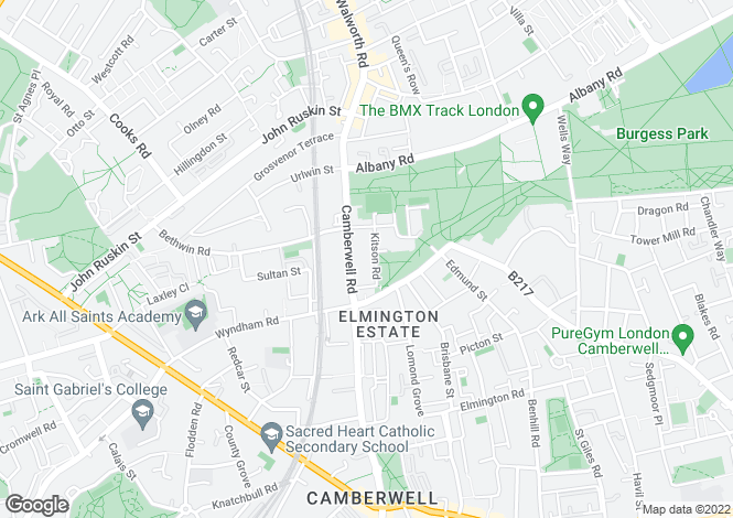 Map for Kitson Road  Camberwell