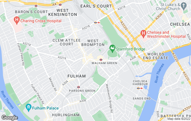 Map for Foxtons, Fulham