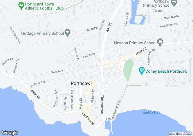 Map for Stoneleigh Court, John Street, Porthcawl, CF36 3DY