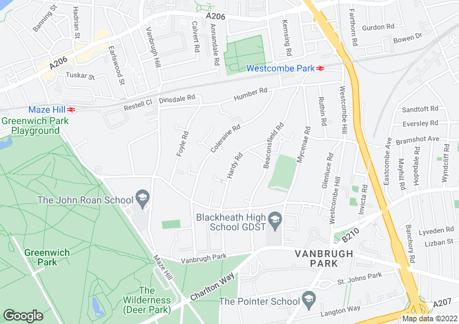 Map for Hardy Road,