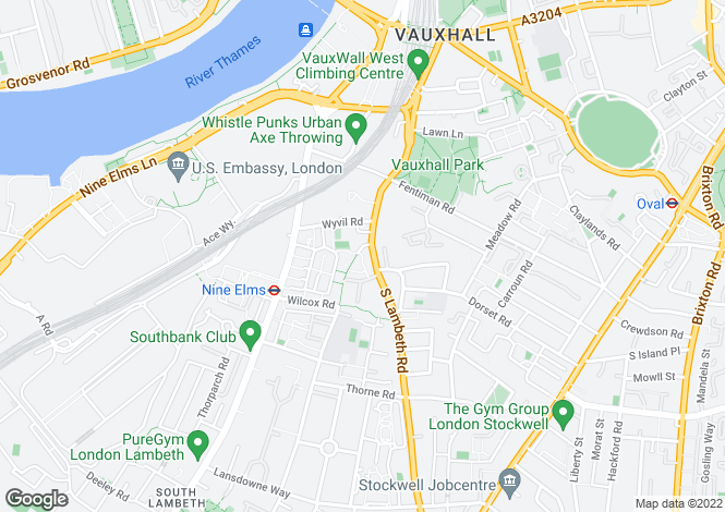 Map for South Lambeth Road, Vauxhall, London SW8