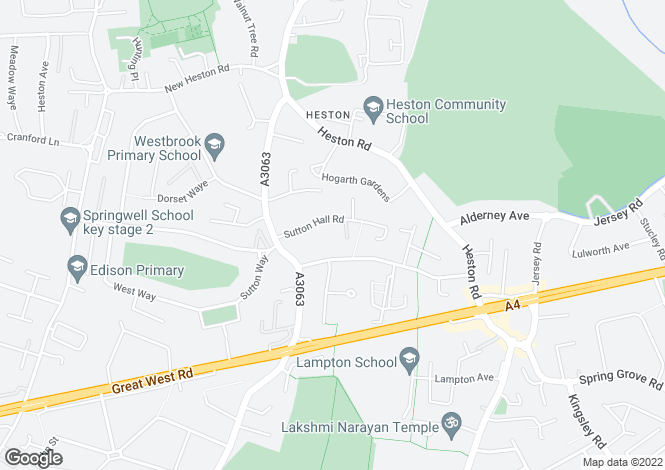 Map for Sutton Hall Road, Hounslow
