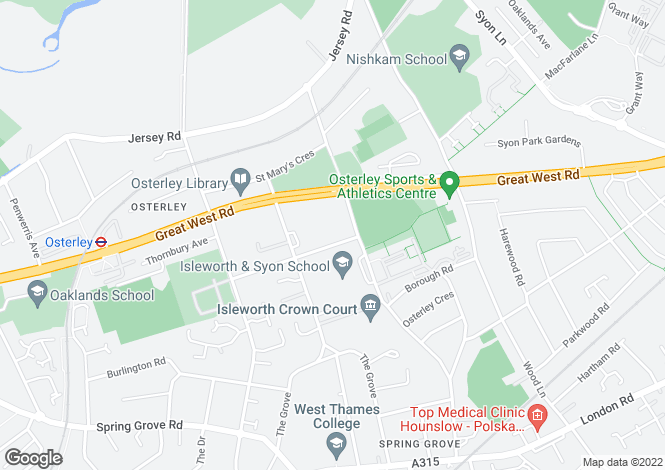 Map for Church Road  Osterley