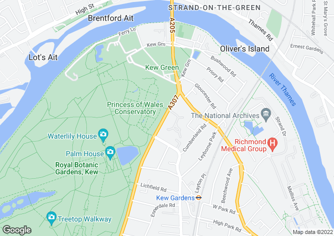 Map for Kew Road, Richmond, Surrey, TW9