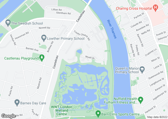 Map for Burges Grove, Wyatt Drive, Barnes Waterside