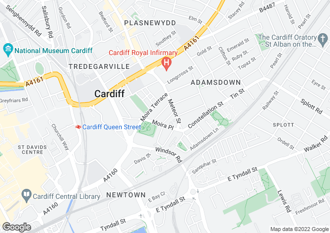 Map for 16-18 Moira Street, Adamsdown, Cardiff, South Glamorgan. CF24 0EQ