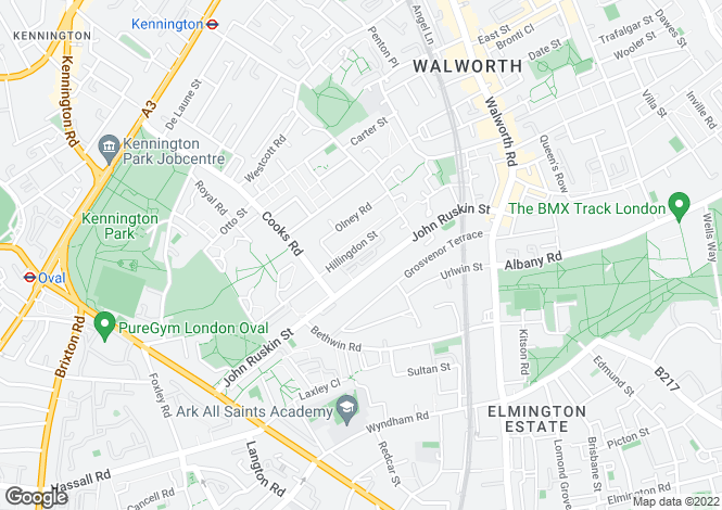 Map for Hillingdon Street  Kennington