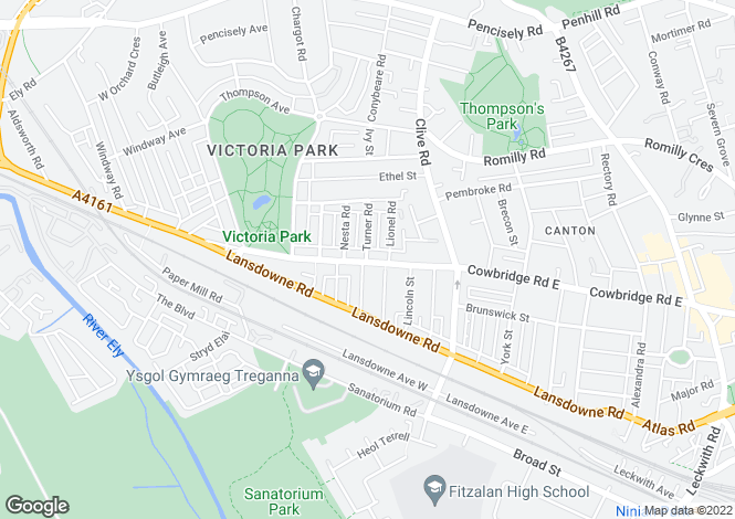 Map for Cowbridge Road East, Canton
