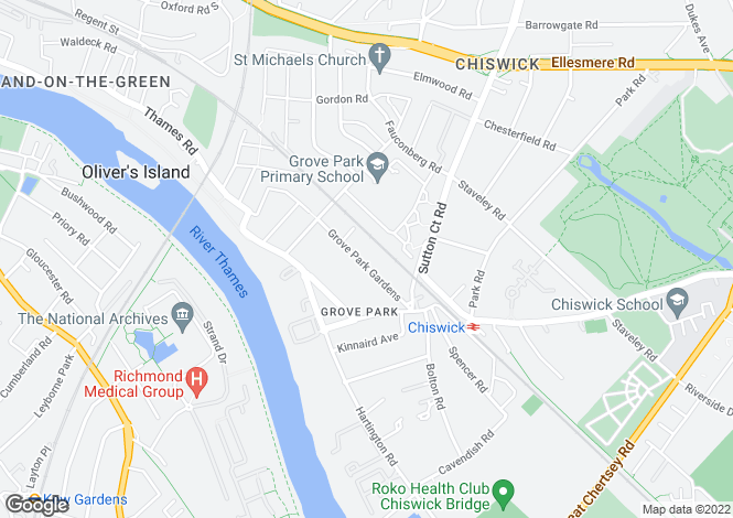 Map for Grove Park Gardens, Chiswick, London, W4