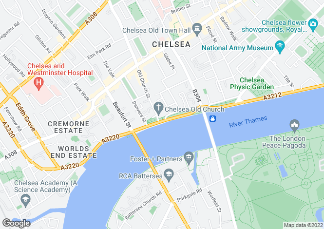 Map for Cheyne Walk, Chelsea, London, SW3